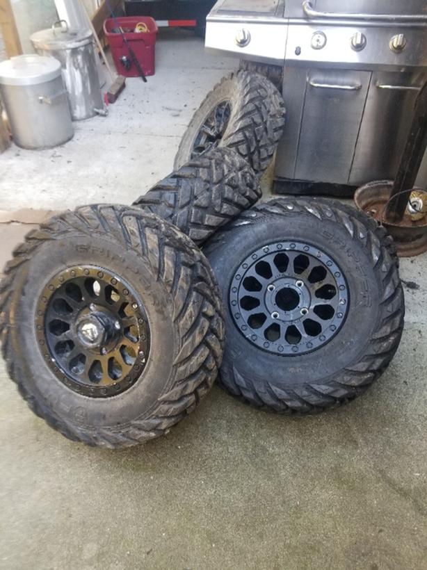 """14"""" Fuel rims with 28"""" Fuel tires"""
