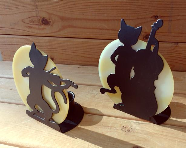 """ Cat  Silhouette"" Candle Holders - pair for $10"