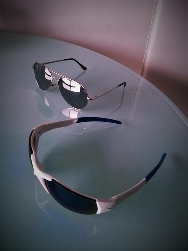 two pairs of sunglasses for $20total, cool blue & white