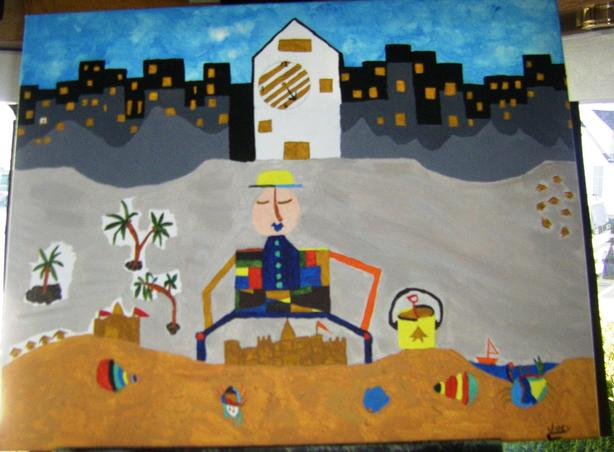 """""""Sand Castles are Timeless"""".  Mixed Media.  16 x 20."""