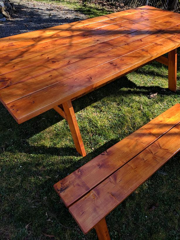 3-piece Farmhouse Picnic Table (With Matching Benches) by Island Tables
