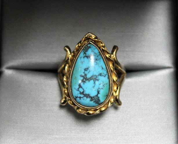 *REDUCED* #163320-1 Vintage 10K Yellow Gold Turquoise Ring