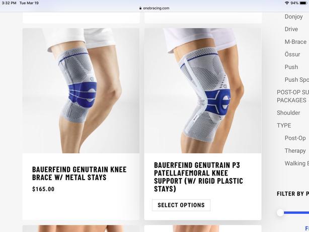 NEW PRICE - Bauerfeind Genutrain A3 knee brace