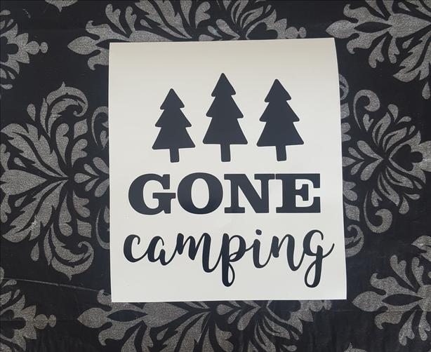 Gone Camping, permanent car window sticker