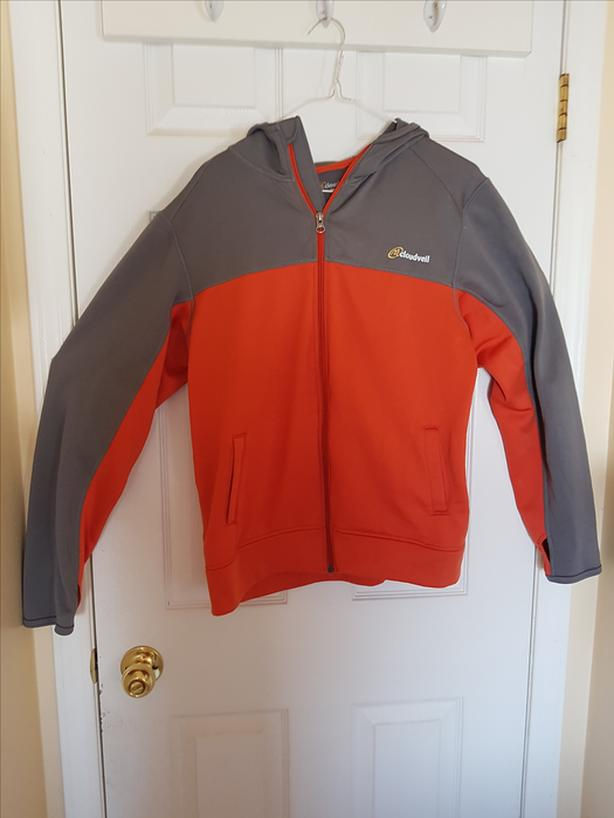 Grey and Orange Zipped Hoodie (Size Small)