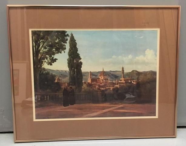 "Camille Corot (1796-1875), Print of Florence,from Boboli Gardens 16"" x 20"""
