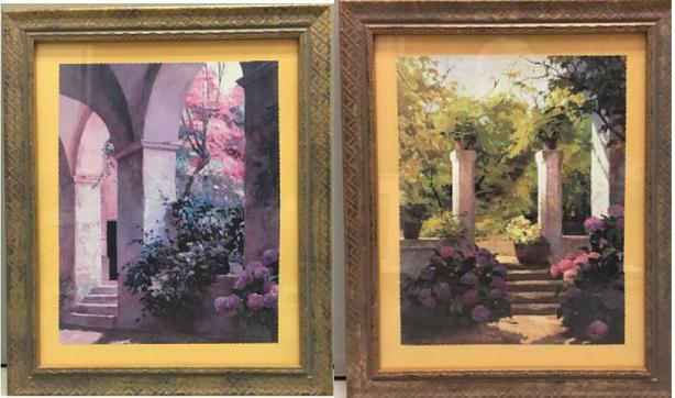 "Set of Garden Prints Framed, Glass & Matted Excellent Condition Size: 18"" x 15"""