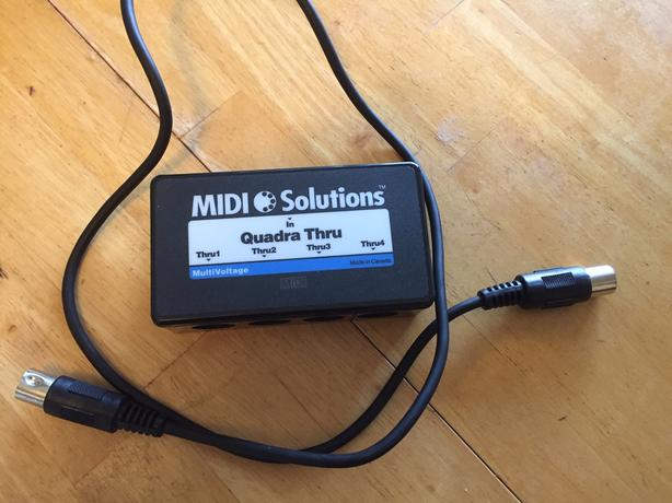 """Midi Solutions Quadra Thru"" 1-to- 4 midi splitter"