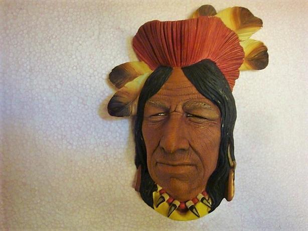 CHAUNEE CHIEF  NATIVE AMERICAN BOSSONS  HEAD 1957