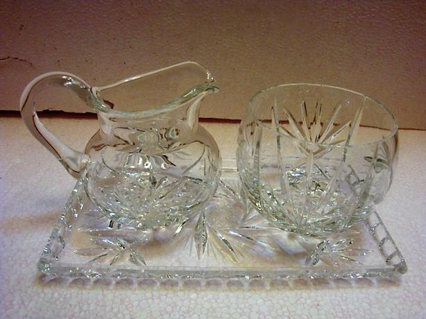 VINTAGE PINWHEEL CUT CRYSTAL 3 PIECE CREAM SUGAR AND TRAY SET