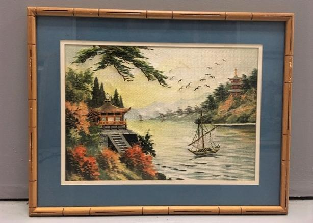 Chinese Silk Embroidery Artwork Handmade Detailed Framed, Matted & Glass