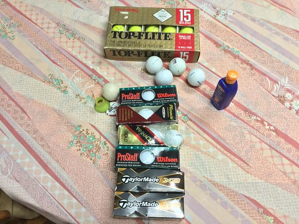 Right handed clubs, bag,30 new balls