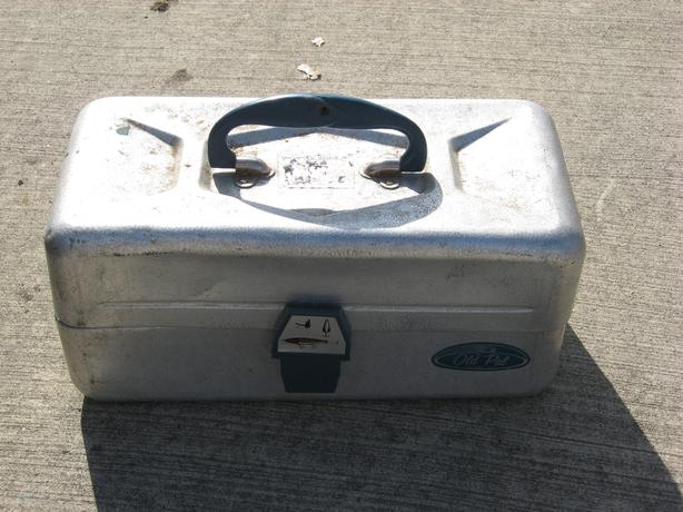 Freshwater fishing tackle box with contents