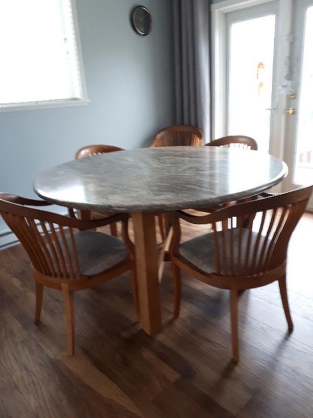 Granite Dining Table and 6 Chairs & Granite Dining Table and 6 Chairs Cowichan Bay Cowichan