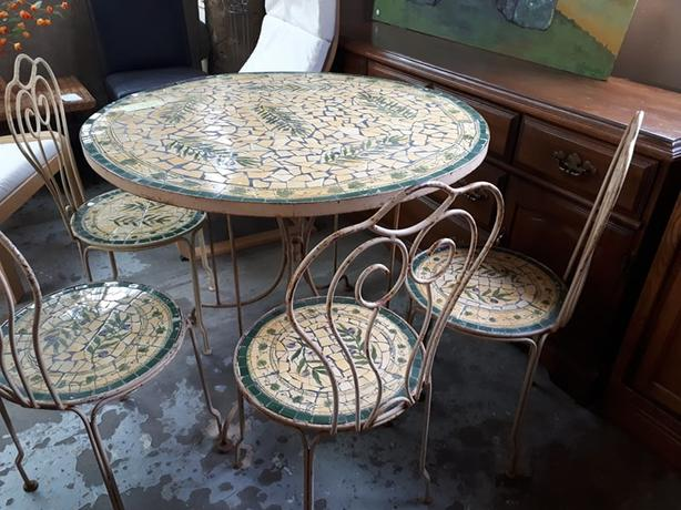 Mosaic Table With Matching Vintage Style Garden Chairs