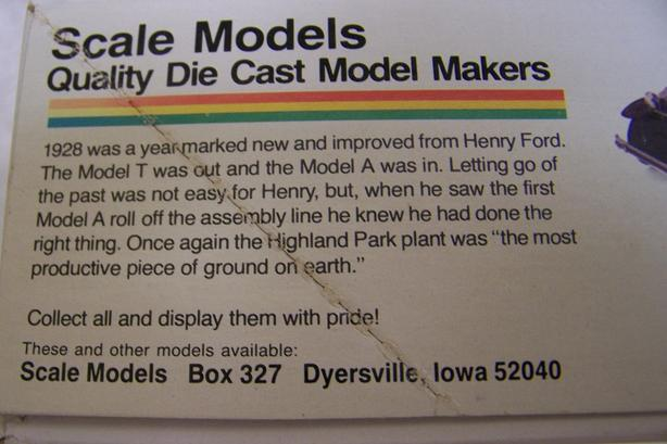 """1:20 SCALE MODELS DIE CAST FORD MODEL A """""""