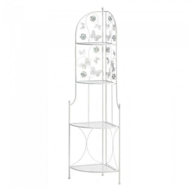 White Metal Corner Rack Shelf with Butterflies & Flowers Accents