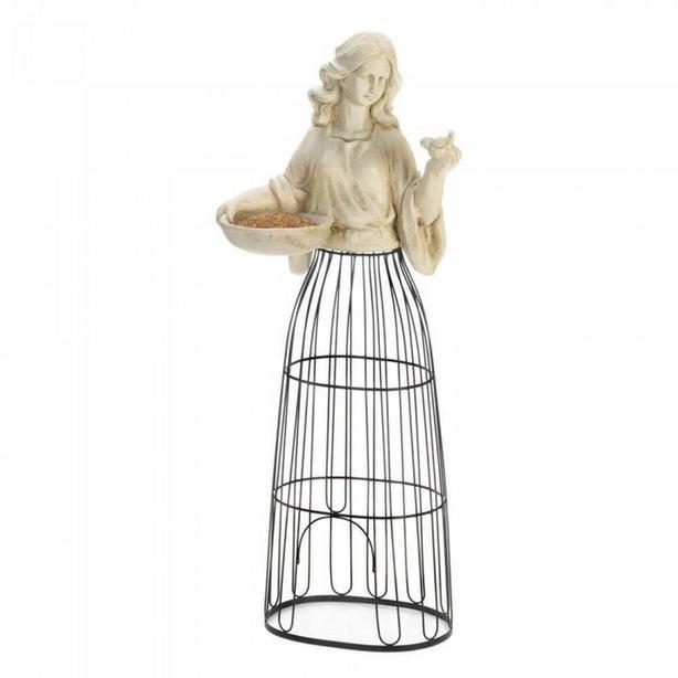 Tall Lady Statue Figurine Birdfeeder with Metal Cage Plant Atrium