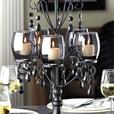 Smoked Glass Candelabra Centerpiece Matching Wall Sconces Jewel Accent 3PC Black