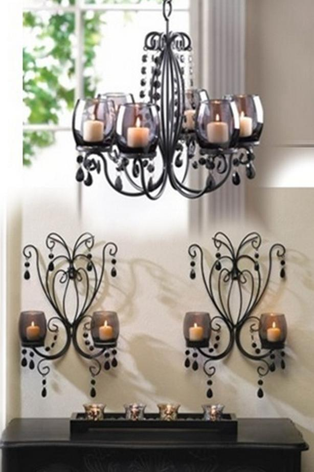 Smoked Glass Candleholder Chandelier Centerpiece Matching Wall Sconces 3PC Black
