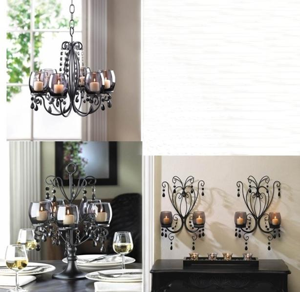 Smoked Glass Candleholder Chandelier Centerpiece Matching Wall Sconces 4PC Black