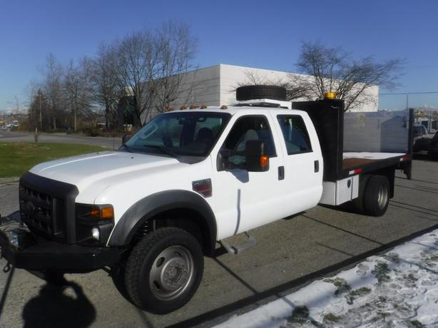 2008 Ford F-450 SD Crew Cab 12 Foot Flat Deck 4WD Dually With Power Tail Gate an
