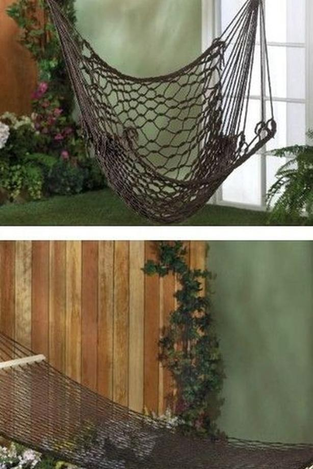 Double 2-Person Rope Hammock & Swing Chair 2PC Mixed Brown