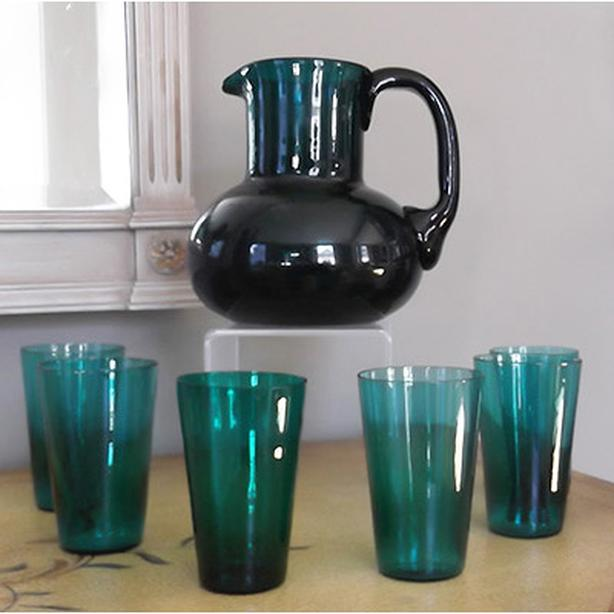 19th century English green glass pitcher and beaker set