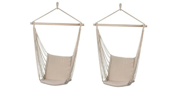 Indoor Outdoor Padded Swing Chair Set of 2 Brand New Neutral