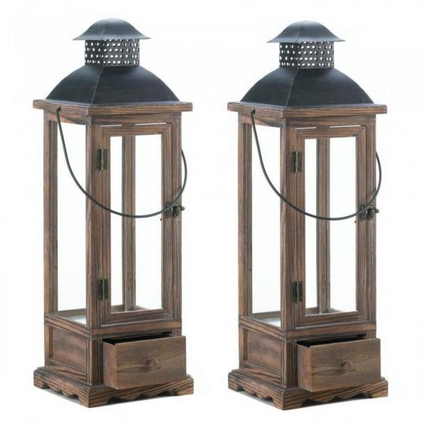 Large Rustic Wooden Candle Lantern with Metal Roof & Pullout Drawer Set of 2 NEW