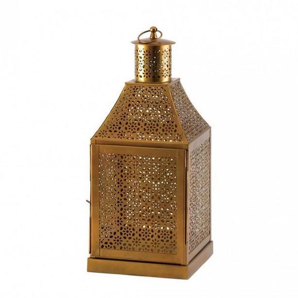 """Large 16"""" Gold Metal Candle Lantern Intricate Cutout Detailing 3 Lot"""