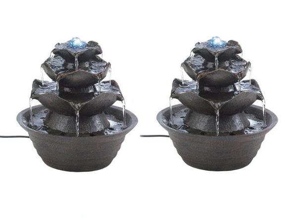 LED Tabletop Lotus Flower Bloom Electric Water Fountain Set of 2 Brand New