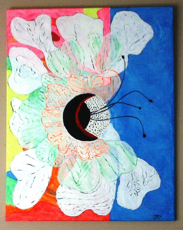 """Abstract Flower"".  Acrylic.  27.5 x 34."