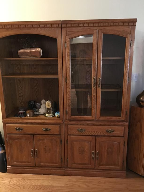 2 pc. Palliser Oak Wall Unit - $100 each or $150 for set