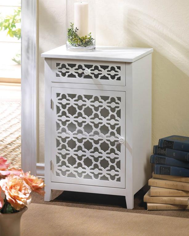 Accent Side End Table Storage Cabinet 2 Shelves Drawer with Stylish Cutout Front