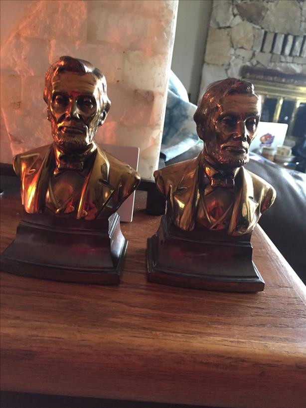 Abraham Lincoln Bookends - Bronzed cast iron