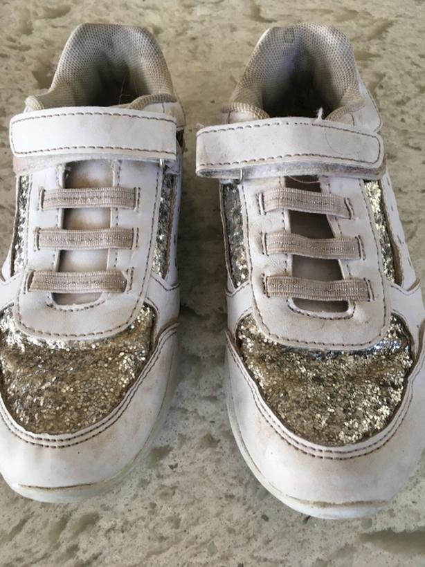 girls silver / white sneakers size 1
