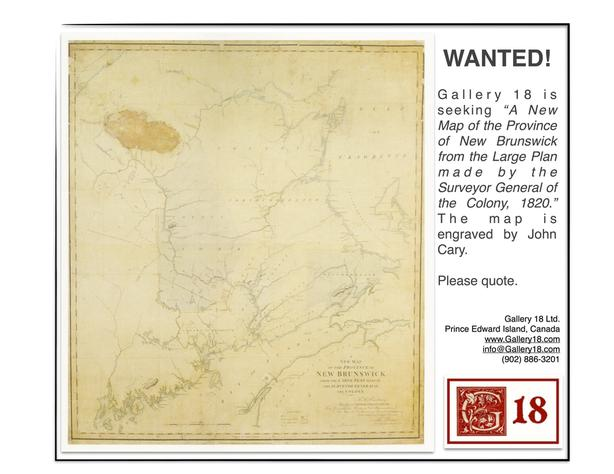 WANTED: Old Map of New Brunswick ...