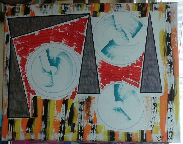 """""""Whirlwind of Hue"""".  Mixed Media.  16"""" x 20"""".  Unframed."""