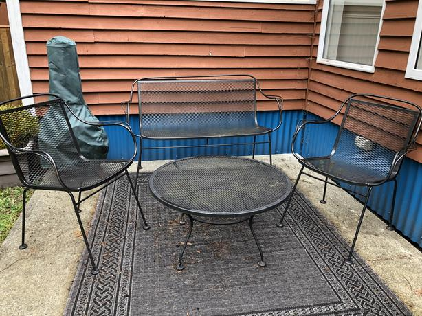 Vintage Wrought Iron Patio Furniture Conversation Set