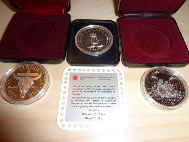 3x Canada Silver Dollars Lot