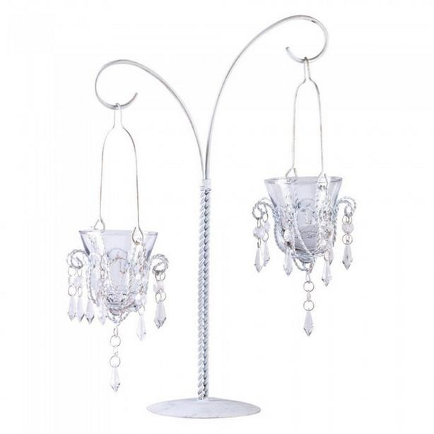 White Candelabra Tabletop Mini-Chandelier Candleholder Wedding Centerpiece 3 Lot