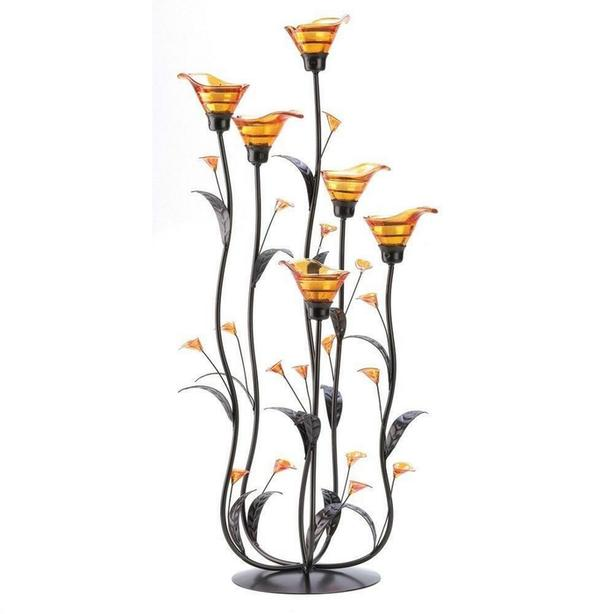 Amber Lily Flower Candleholder Centerpiece Stand + Candles 2-ft Tall
