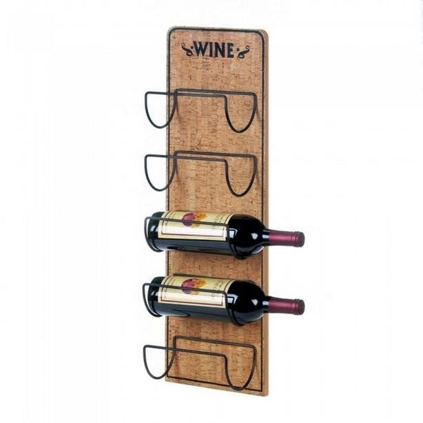 Wall-Mount Rustic Wood Wine Bottle Holder Rack Brand New