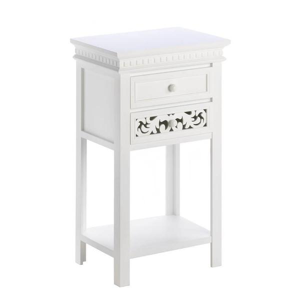 Pretty Fleur De Lis Double Drawer Side Accent End Table with Shelf Brand New