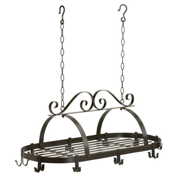 Hanging Metal Kitchen Pots & Pans Holder Organizer Rack NEW Black