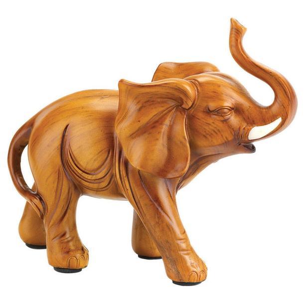 Elephant Figurine Goldtone Wood-Look Art Glass Gray Lifelike Mixed Lot of 6 NEW