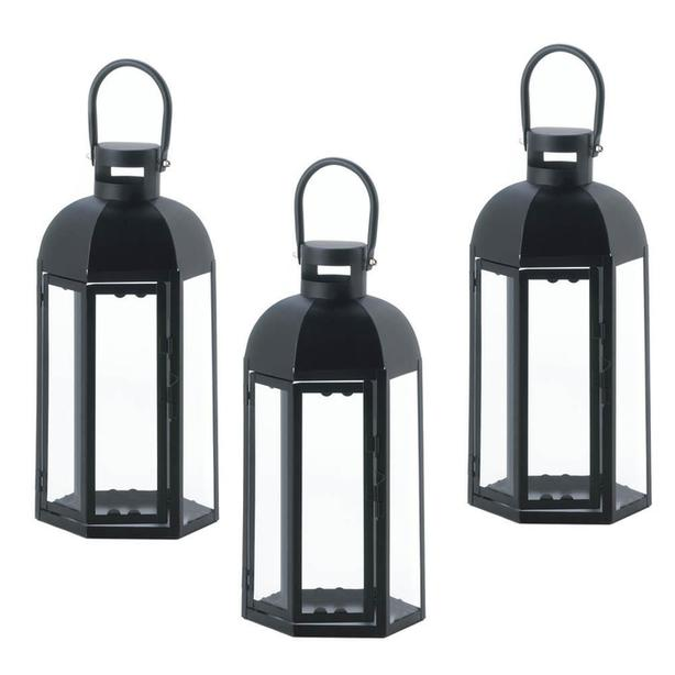 "13"" Black Hexagon Candle Lantern with Dome Top & Large Handle 3 Lot NEW"