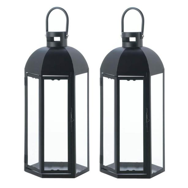 "Tall 17"" Black Hexagon Candle Lantern with Dome Top & Large Handle Set of 2"