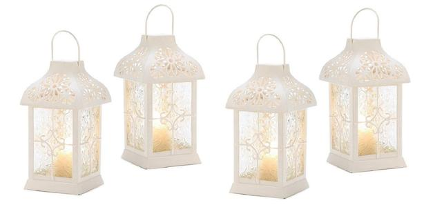 White Candle Lantern with Lacy-Look Pressed Glass Panels 4 Lot NEW Romantic